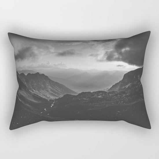 Valley - black and white landscape photography Rectangular Pillow