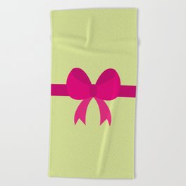 Pink Bow on Soft Green Beach Towel