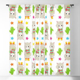 Cute Llamas With Scarfs, Alpacas, Cactus, Stars Blackout Curtain