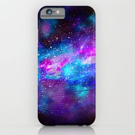 Abstract Nebula #16: Purple blue particles iPhone Case