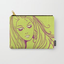 Psychedelic Lady Dream In Green Carry-All Pouch