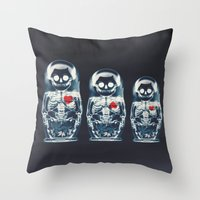 doll Throw Pillows featuring Nesting Doll X-Ray by Ali GULEC