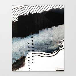 Closer - a black, blue, and white abstract piece Canvas Print