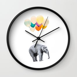 Dreaming Elephant Flying, Animal Zoo Nursery Photo, Large Printable Birthday Party Wall Art, Ballons Wall Clock