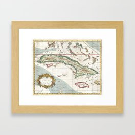Vintage Map of Cuba and Jamaica (1763) Framed Art Print