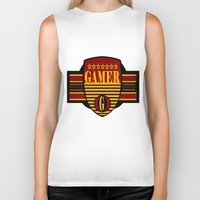 gamer Biker Tanks featuring GAMER by Robleedesigns