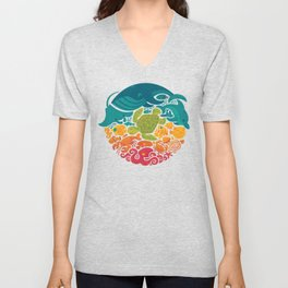 Aquatic Rainbow (white) Unisex V-Neck