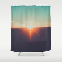 Pastel Turquoise & Orange Sunset With Mountain Landscape Silhouette Shower Curtain