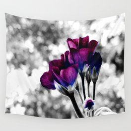 Magenta Blue Flowers Pop of Color Wall Tapestry