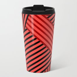 Red striped abstract pattern Travel Mug