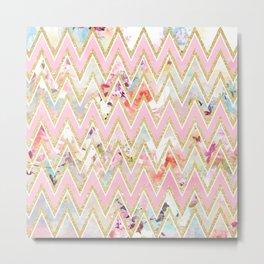 Pastel watercolor floral pink gold chevron pattern Metal Print