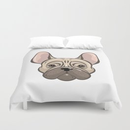 Cute french bulldog muzzle Duvet Cover