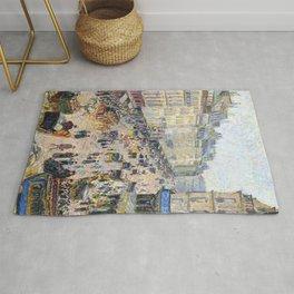 """Camille Pissarro """"La Rue Saint-Lazare, temps lumineux"""" Rug"""