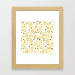 Honey Bees and Buttercups Framed Art Print