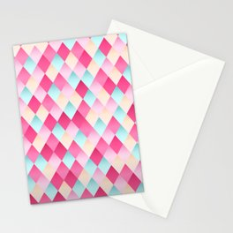 Pink And Blue Diamond Abstract Stationery Cards
