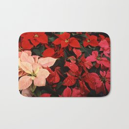 Poinsettia Christmas Holiday Flowers Bath Mat