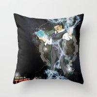 dbz Throw Pillows featuring DBZ Tesla Milky Way by Hushy