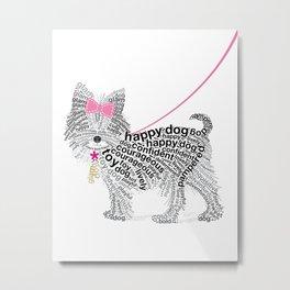 Typographic Yorkshire Terrier - Pink   #YorkshireTerrier #buyart Metal Print