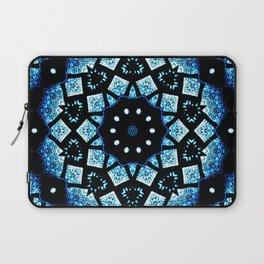 Blue Black Mosaic Kaleidoscope Mandala Laptop Sleeve