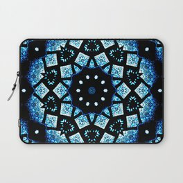 Blue Black Mosaic Kaleidoscope Mandala Laptop Sleeve