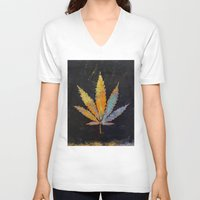 cannabis V-neck T-shirts featuring Cannabis by Michael Creese