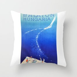 Budapest, Hungary, Balaton, vintage poster Throw Pillow