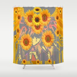 MODERN ART YELLOW SUNFLOWERS  GREY ABSTRACT Shower Curtain