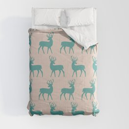 Mid Century Modern Deer Pattern Turquoise and Beige 3 Comforters
