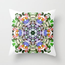 Spring wildflower mandala 2 Throw Pillow