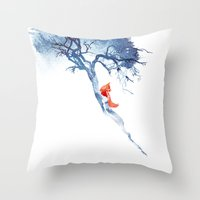 calm Throw Pillows featuring There's no way back by Robert Farkas
