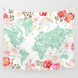Mint green and hot pink watercolor world map with cities Wall Tapestry