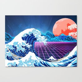 Synthwave Space: The Great Wave off Kanagawa #3 Canvas Print