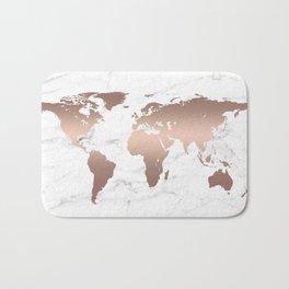 Rose Gold Metallic World Map on Marble Bath Mat