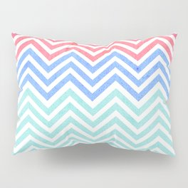 Chevron Blue and Red vintage Pillow Sham