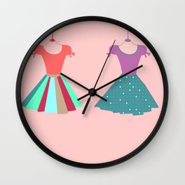 Multicolor Pleated Dresses Art Print Home Decor Room Furnishing Contemporary Wall Design Graphic Wall Clock