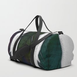 Feathers on silver Duffle Bag