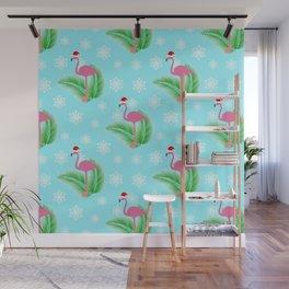 Flamingo at winter with snowflakes Wall Mural
