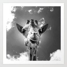Cool Giraffe Black and White Art Print
