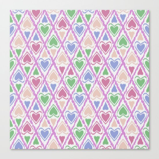 Favorite pattern . Brown, pink , green . Canvas Print
