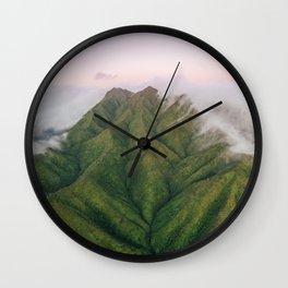 Clouds over the Koʻolau Mountains on Oahu Wall Clock