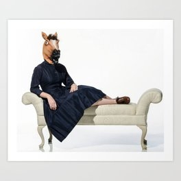 Fainting chair horse Art Print