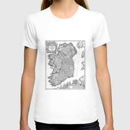 Vintage Map of Ireland (1716) BW T-shirt