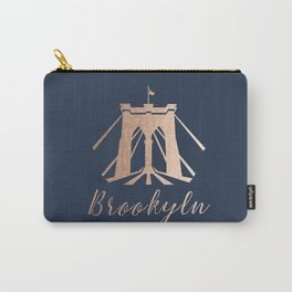 Rosegold on Navy Brooklyn Bridge Carry-All Pouch