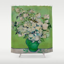 White Rose In A Vase Vincent van Gogh 1890 Oil on Canvas Still Life With Floral Arrangement Shower Curtain