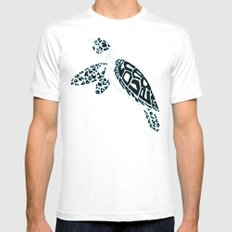 Calligram Sea Turtle White Mens Fitted Tee MEDIUM