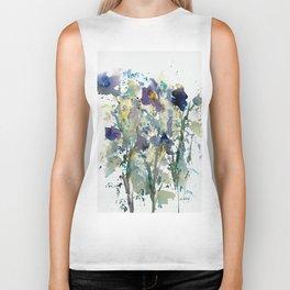 Iris Garden watercolor painting Biker Tank