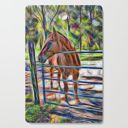 Abstract horse standing at gate Cutting Board