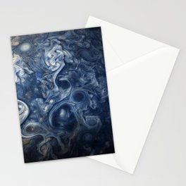 Swirling Blue Clouds of Planet Jupiter from Juno Cam Stationery Cards