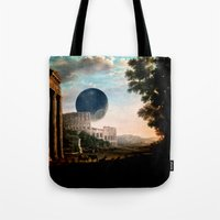 death star Tote Bags featuring Death Star by DIVIDUS