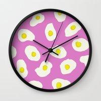 eggs Wall Clocks featuring Eggs by AshlynDrake